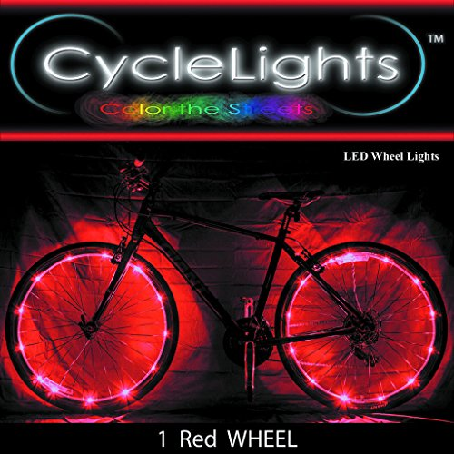 Price comparison product image Cool Bike Wheel LED Lights Waterproof Bicycle Cycling Spoke Light String Over 1000ft Away Visible, Red Color, Battery not Included