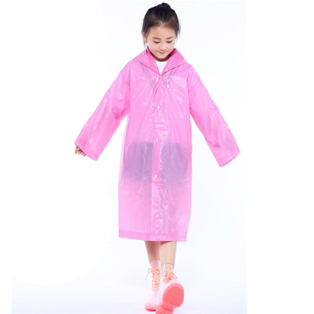 Tpingfe Portable Reusable Raincoats Children Rain Ponchos For 6-12 Years Old, 1PC (Pink)