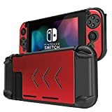 TNP Nintendo Switch Case Cover for Console & Joy-Con Controller - Travel Friendly Aluminum Alloy Hard Shell Protector, Anti-Scratch Shockproof Protective Nintendo Switch Accessories (Red)