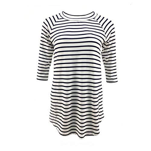 Buffalo Plaid Shirt Womens Plus Size Long Sleeve Elbow Patch Tunic Tops (Small, Navy White Stripe)