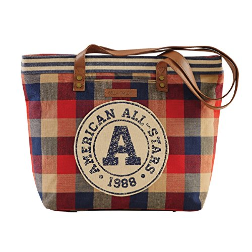 bella-taylor-cotton-khaki-red-blue-plaid-shoulder-tote-with-circle-patch-shoulder-drops-and-zip-and-