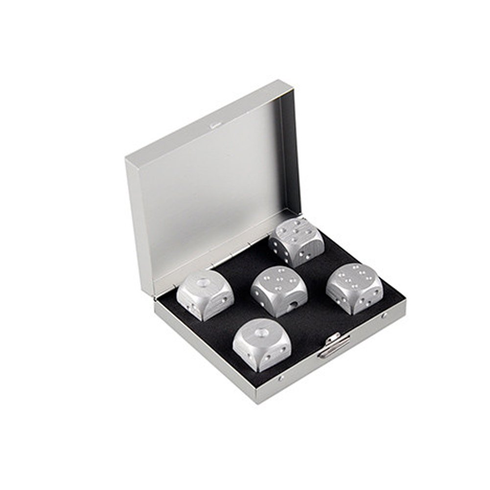 Tocone Dadi da Gioco 5pcs lega di alluminio Dadi Set Poker di partito with metal box per regalo collezione di souvenir Intrattenimento Gioco Coppa dei dadi Giocattoli e giochi