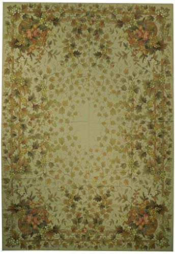 Beige 16th Century Area Rug 10x14 English Garden Needlepoint Hand-Woven Rug
