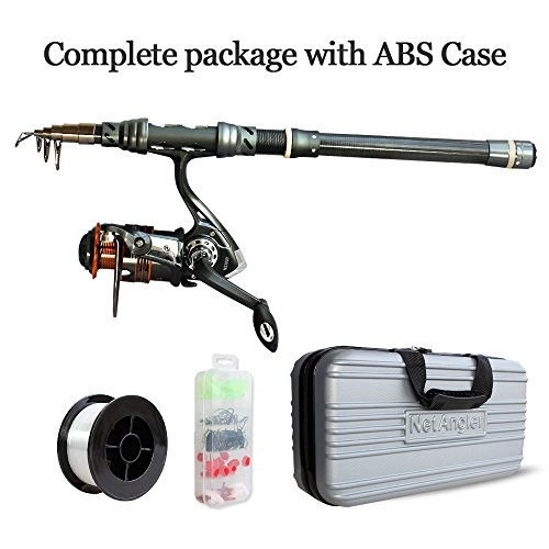 Carp Rod Bags - NetAngler Fishing Rod and Reel Combos, Spinning Fishing Set Telescopic Fishing Pole Reel Kit with Fishing Line Lures Hooks Accessories and ABS Carrier Bag
