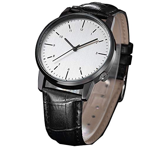 irugh Men's Watch, Bauhaus Simple Swiss Watch, High-Grade Quartz Leather Watch, 30cm Waterproof