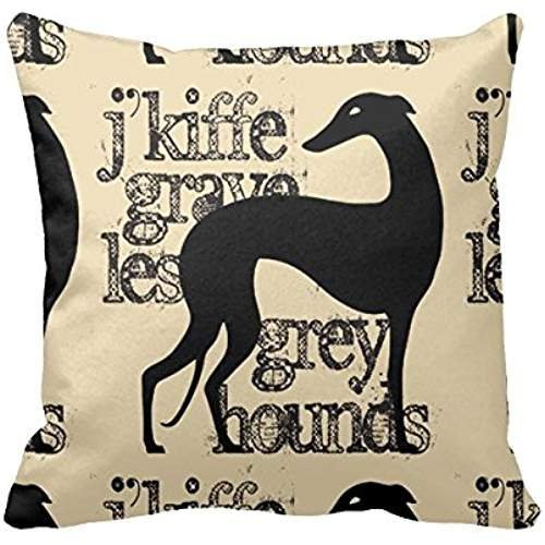 HATS NEW 18 Throw Pillow Black Stylized Greyhound Personalized Monogram Pillow