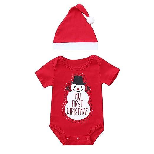 e3f71da56 KONFA Toddler Newborn Baby Boys Girls Christmas Clothes,Cartoon Snowman Short  Sleeve Romper+Hat
