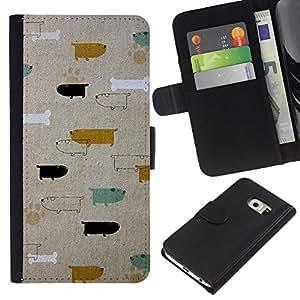EJOY---La carpeta del tirón la caja de cuero de alta calidad de la PU Caso protector / Samsung Galaxy S6 EDGE / --Patrón Perros Dachshund del trullo del oro