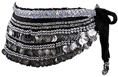 Create A Gypsy Halloween Costume (Yeeco Belly Dance Belt Hip Scarf Wrap Chain Widening Waistband Waist Performance Dancing Skirt Costume 338 Silver Coins (Black))