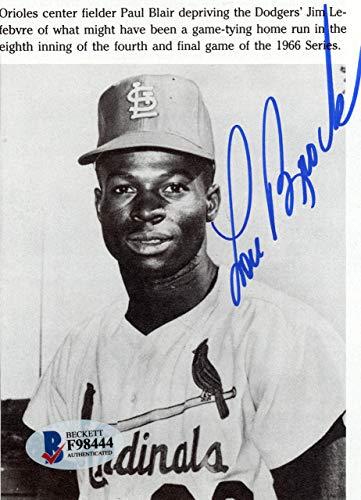 Lou Brock Autographed 3.5x5 Magazine Page Photo St. Louis Cardinals Beckett BAS #F98444