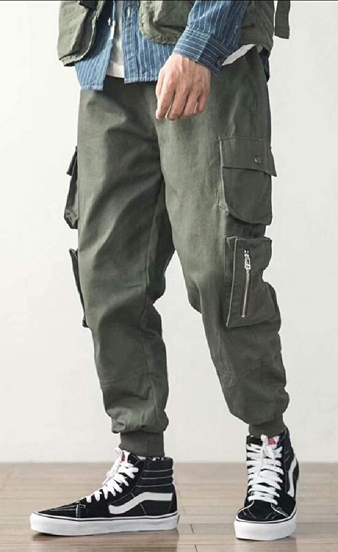 Mens Jogger Drawstring Cargo Multi-Pockets Harem Hip-Hop Sport Pants