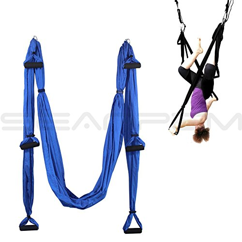 Yoga Pilates Swing/Sling/Inversion Tool Anti Gravity Aerial Trapeze Air Flying Hammock Fitness Swing Relieves Back Pain, Improves your Strength, Balance, Flexibility and Endurance Xemz