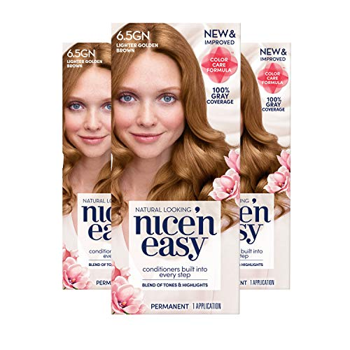 Clairol Nice 'n Easy Permanent Hair Color, 6.5GN Lighter Golden Brown, 3 Count (Packaging May Vary)