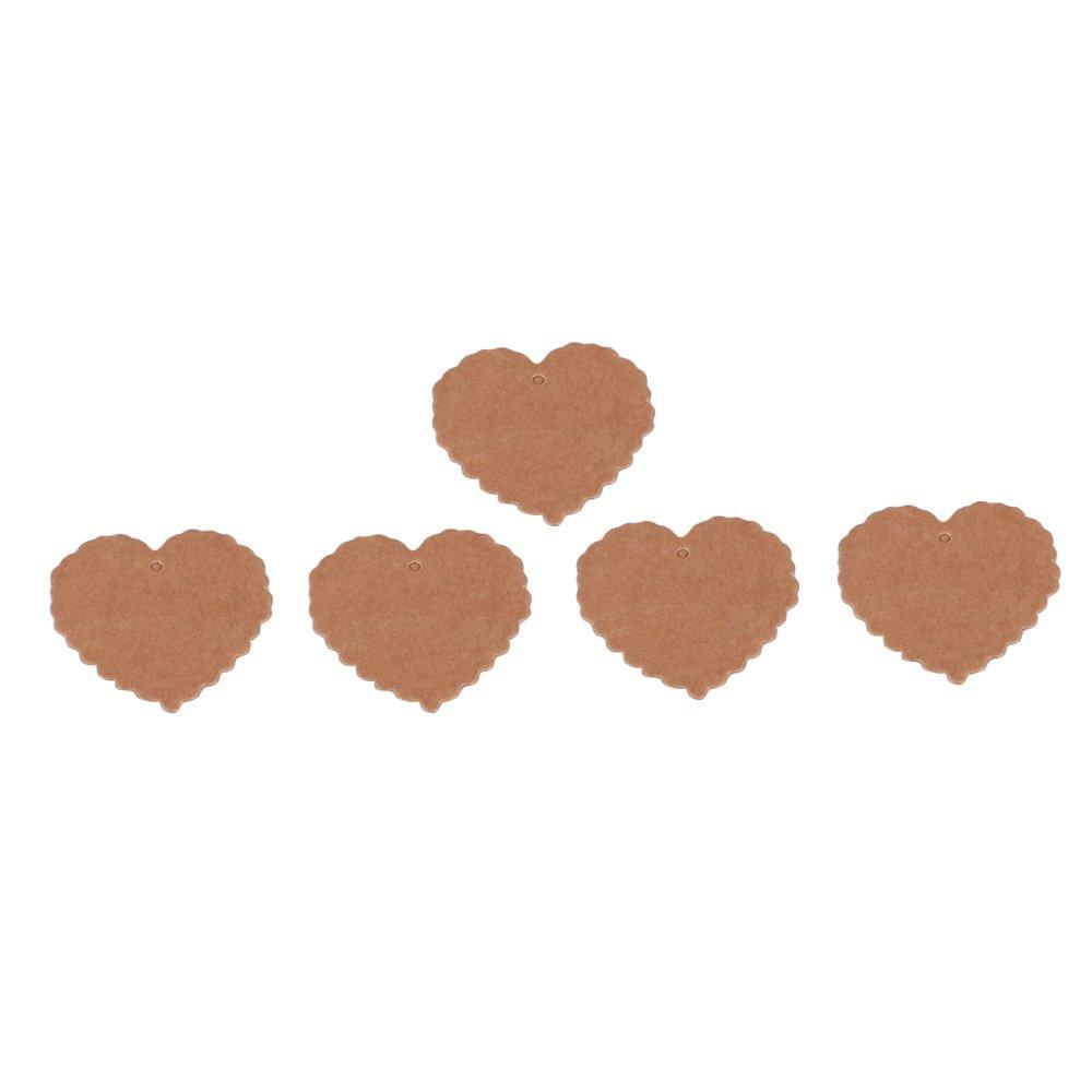 100 Pezzi Tag Regalo Carta Kraft a Forma di Cuore Etichetta Regalo Tag appesi cartoncino Bianco per Matrimonio Favore Albero di Natale Favore