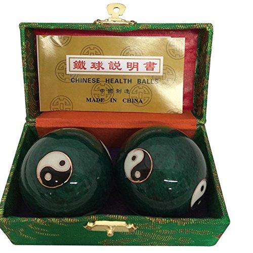 Baoding Balls Chinese health Massage Exercise Stress Balls - Green YinYang #2