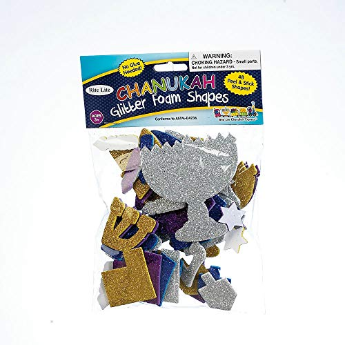 Quality Judaica Hanukkah Peel & Stick Glitter Foam Shapes, Includes 48 Shapes ()