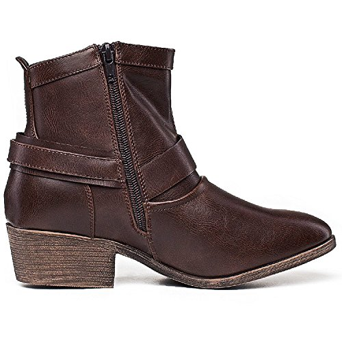 Toe Cowboy Boots Ankle SheSole Round Heel Low Ladies Women's Brown nFx1w1qIB