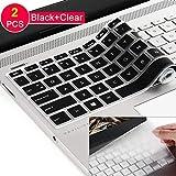 """[2pack] Funda de teclado para HP Envy x360 2 en 1 15,6"""" portátil serie /2018 más nuevo HP Pavilion 15.6 pulgadas Series /2018 HP Envy 17.3"""" 17M 17-BS 17-BW Series Touch-Screen Laptop Protective Skin, transparente y negro"""