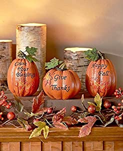 set of 3 inspirational Pumpkins Table Top Home Accent Decor Haunted House Prop Autumn Fall Harvest Thanksgiving Country Decoration