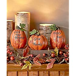 set of 3 inspirational Pumpkins Table Top Haunted House Prop