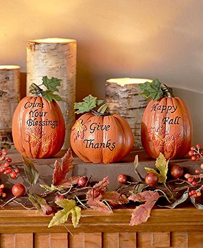 set of 3 inspirational Pumpkins Table Top Home Accent Decor Haunted House Prop