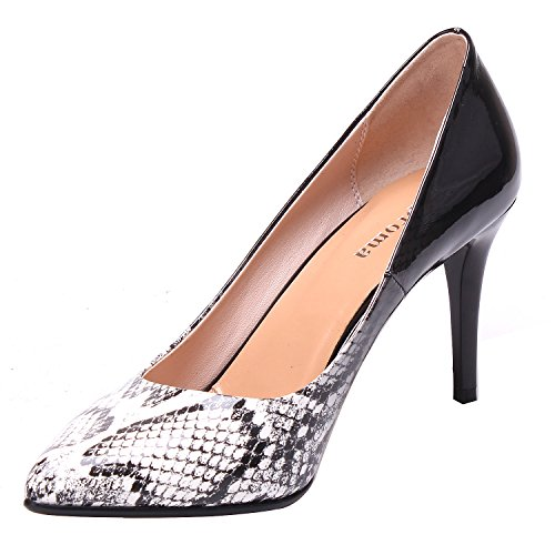 ZAPROMA Escarpins Chaussures Python noir Bout Stiletto Femme Talons White Escarpins Escarpins Hauts Pointu à Sexy à Tw1TIqr