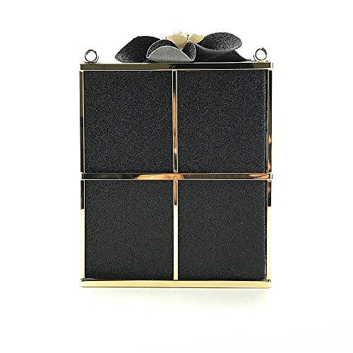 sac mode discothèque Black créative diagonale robe Paquet Dames embrayage fleur boîte soirée nuptiale cadeau épaule qX8wzTA