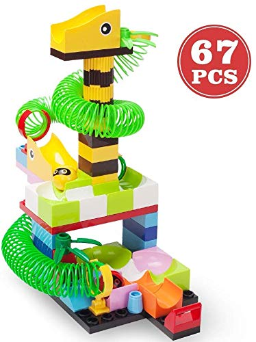STEM Learning Educational Toys Best Gifts Idea for 3,4,5,6 Years Old Boys Girls Toddlers Children Marble Maze Building Set Marble Building Blocks for Kids Marble Run Game