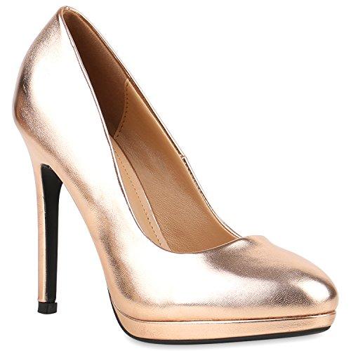 Stiefelparadies Damen Lack Pumps Stiletto High Heels Metallic Schuhe Party Abendschuhe Plateau Plateau Pumps Flandell Bronze