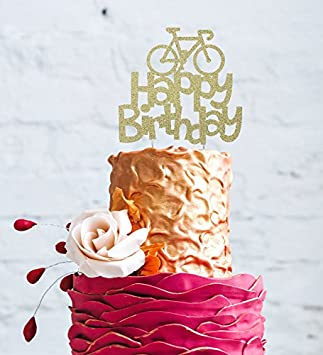 """LissieLou – Kuchentopper, Tortendekor, """"Happy Birthday"""" mit Fahrrad, glitzernde Kuchen-Dekoration gold"""