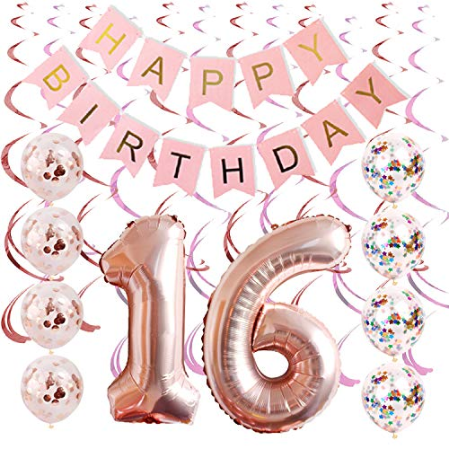 Price comparison product image Rose gold Sweet 16 party supplies By Tats4now / 16th birthday party supplies / Includes Birthday Banner,  sweet 16 confetti Balloons,  and Hanging Swirls / sweet sixteen decorations