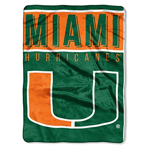 The Northwest Company Officially Licensed NCAA Miami Hurricanes Basic Raschel Throw Blanket, 60