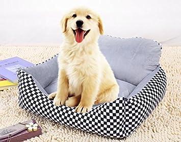 Xinjiener Sofá Kennel Impermeable Perro Mascota Gato Cama Alfombra Cojín Lavable Ultra Suave Tela de Felpa Cubierta Suave Negro con Blanco 70X50X21CM: ...
