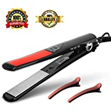 Cheap Professional Flat Iron Hair Straightener, Ceramic Titanium Ionic Hair Straightening Temperature Control Digital LCD Display Dual Voltage Auto Shut-Off,1-Inch