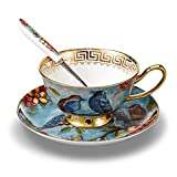 NDHT Bone China Bone China Teacups/Coffee Cups & Saucers Sets with Spoons-6.7Oz, for Home,Restaurants, Display & Holiday Gift for Family or Friends,Blue Bird,with gift box(1 Sets)