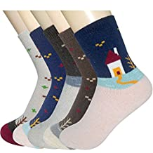 No.66 Town Women's 5 Pack Thick Wool Sock Warm Soft Winter Crew Socks