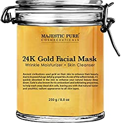 Indulge Yourself with Majestic Pure Luxurious 24K Gold Facial Mask. This 24k gold mask is a deluxe multi-tasking face mask, expertly crafted to nourish, hydrate, and revitalize skin. Majestic Pure 24K Gold Facial Mask contains real 24K Gold foil whic...