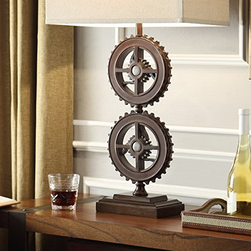 INSPIRE Q Barnard Antique Bronze Metal Gears 1-light Accent Table Lamp