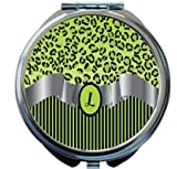 Rikki Knight Letter''L'' Lime Green Leopard Print Stripes Monogram Design Round Compact Mirror