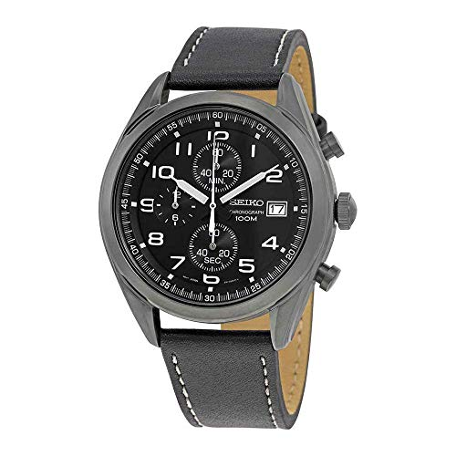 (Seiko Men's Chronograph Quartz Watch with Leather Strap SSB277P1)