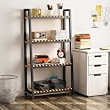 LITTLE TREE 4-Tier Bookshelf, Carbon Wood Board & Sturdy Iron Frame Ladder Shelf, for Living Room or Home Office (Black)