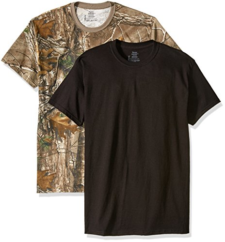 Hanes Men's 2 Pack Fresh IQ Real Tree ComfortSoft Crew T-Shirt Camouflage and Black (X-Large)