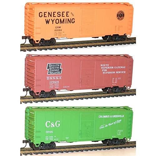 AAR 40' Single-Door Steel Boxcar 3-Pack - Kit -- 1 Each: Duluth, South Shore & Atlantic, Genesee & Wyoming, Columbus & Greenv (Door Single Aar Boxcar)