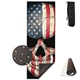 Unisex American Flag Skull Unique Pattern Print Yoga Mats With Carrying Bag