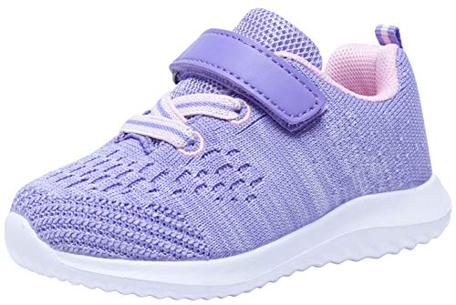 COODO Toddler/Little Kid Boys Girls Shoes Running Sports Sneakers (7 Toddler,Purple) (Girls Purple Tennis Shoes)