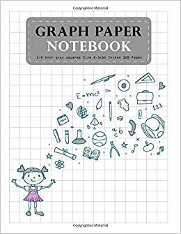 graph paper notebook gray 12 inch squares size 85x11 inches 120 pages composition notebook student teacher school home office supplies blank quad ruled