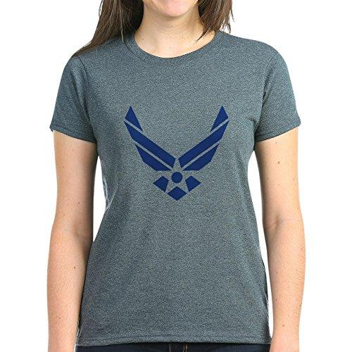 - CafePress - Air Force Wings - Logo, Emblem T-Shirt - Womens Cotton T-Shirt Charcoal Heather