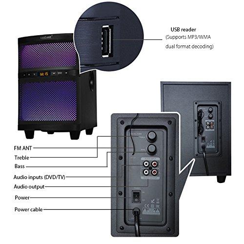 LuguLake TV Sound bar Speaker System with Subwoofer, Bluetooth, Adjustable LED Lights, FM Radio, USB Reader, Composable Floor Speaker by LuguLake (Image #4)