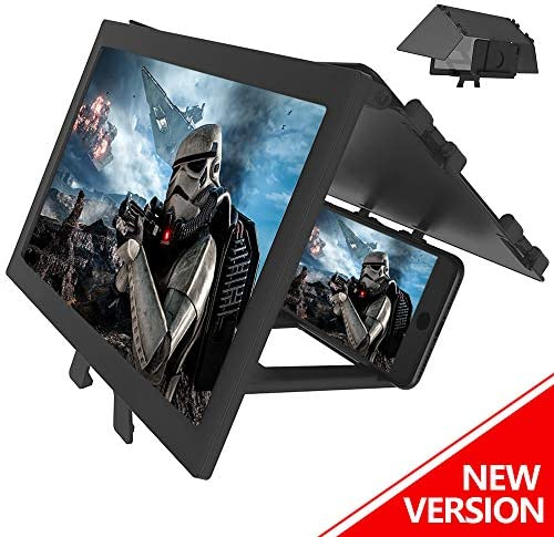 """LAIKETE 12"""" 3D Mobile Phone Screen Magnifier, Anti-Blue Light Expander Magnifying Phone Screen Amplifier for Movie, Video, Game, Full Coverage Foldable Holder Stand, Compatible All Smartphones"""