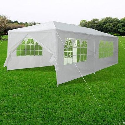 - 20'x10'x8' Ft Outdoor Wedding Party Tent Patio Gazebo Waterproof Polyethylene Cover w/ Removable Side Walls Canopy Screen White for Sporting Activities Events Parties